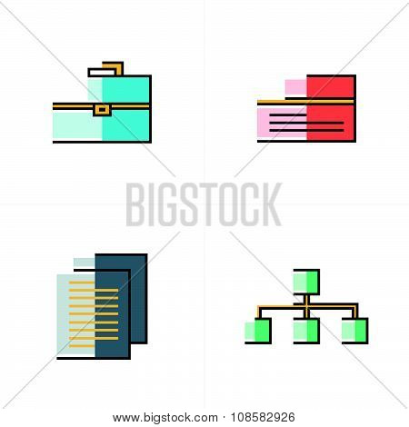 Business  Flat Icons Abstract Style