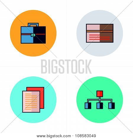 Business  Flat Icons 4 Color Design