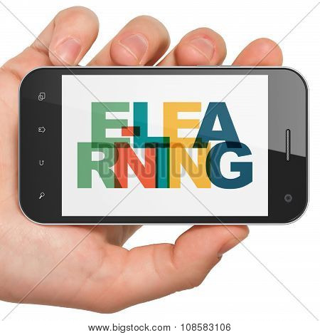 Learning concept: Hand Holding Smartphone with E-learning on  display