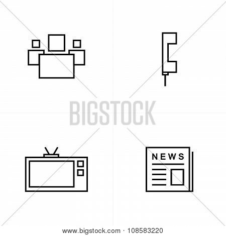 People, News, Tv, Phone Icons Line Style
