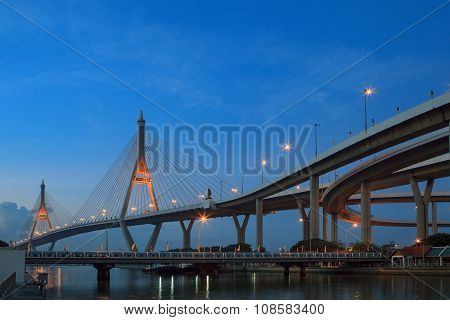 Morning Blue Light Sky And Bhumibol Ii Bridge Crossing Chaopraya River Important Modern Landmark In