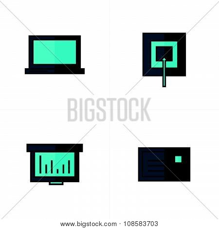 Laptop, Target, Graph, Mail Icons Black And Blue Color