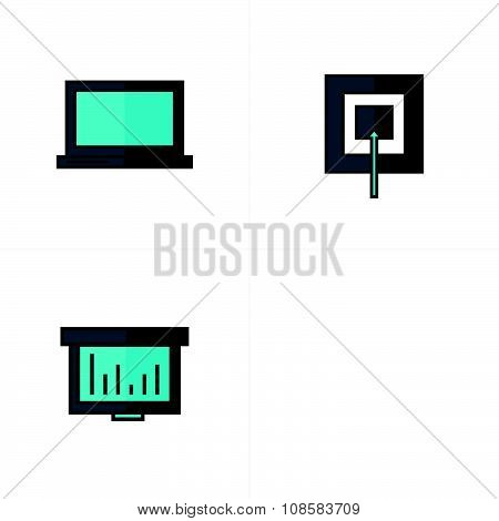 Laptop, Target, Graph, Mail Icons Line Style