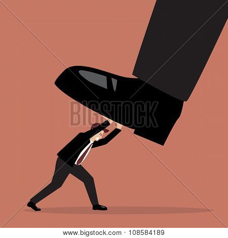 Businessman Pushing Big Foot