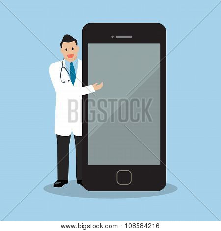 Doctor Pointing To The Screen Of A Smartphone