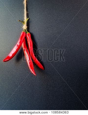 Red Hot Peppers Hanging