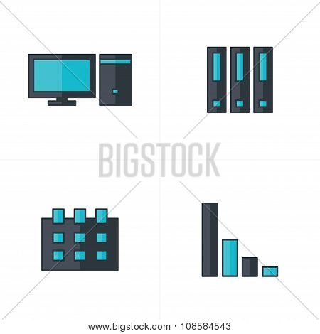 Computer, File, Calendar, Graph Icons Black And Blue