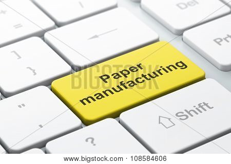 Industry concept: Paper Manufacturing on computer keyboard background
