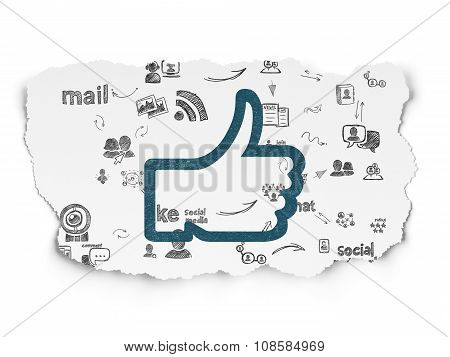 Social network concept: Thumb Up on Torn Paper background