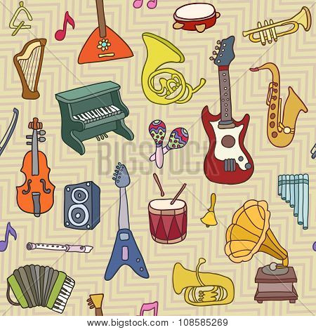 Music Seamless Pattern. Vector Illustration