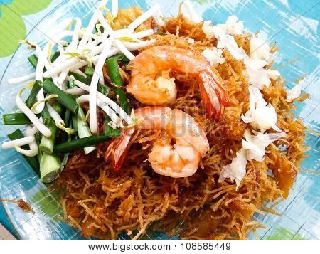 Mee Grob. Shrimp, Crispy Thai Rice Noodles And Sweet And Sour Sauce