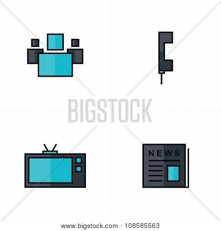 People, News, Tv, Phone Icons Black And Blue Color