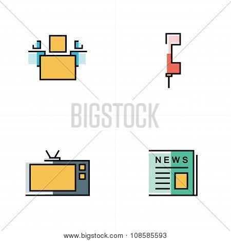 People, News, Tv, Phone Icons Design