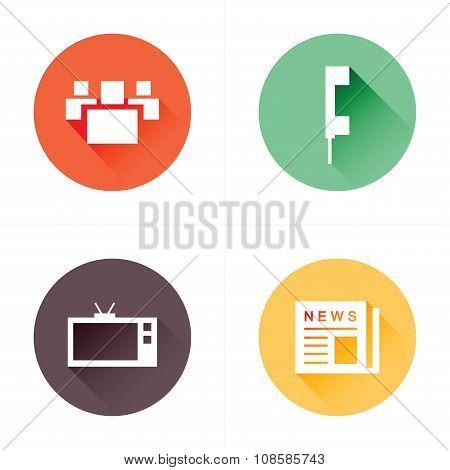 People, News, Tv, Phone Icons Flat Design Set