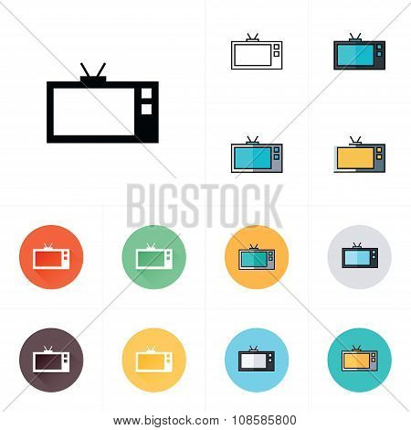 Tv Icon. Flat Design Style.