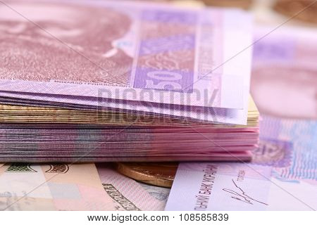 Pile Of Ukrainian Money, Close Up