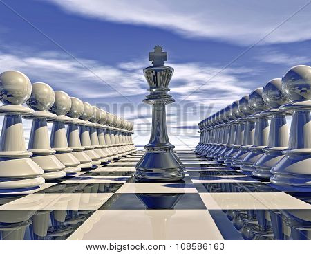 Chess Pieces In Rows With Chess King Abstract Illustration.