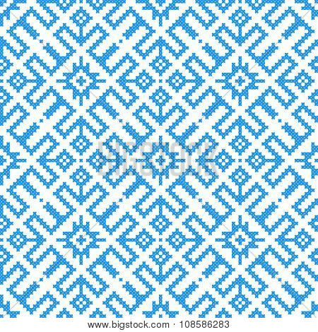 seamless embroidered good like handmade cross-stitch Ukraine pattern. winter colors
