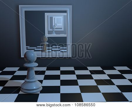 Chess piece looking in mirror.