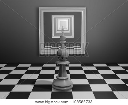 Chess Pawn Looking In Mirror With Many Reflections.