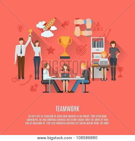 Business teamwork concept flat poster