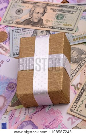 American Money And Golden Gift Box, European Money