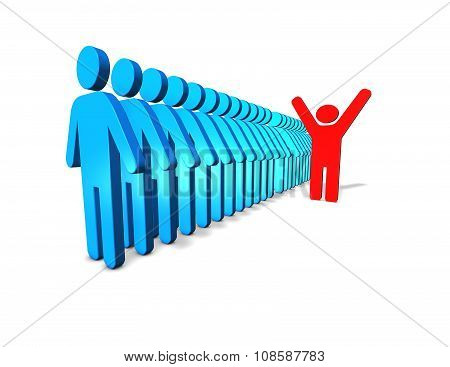 Individuality And Winning Abstract Concept With Red Person Standing Out Ot The Croud.