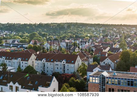 Stuttgart city with buildings and trees, germany