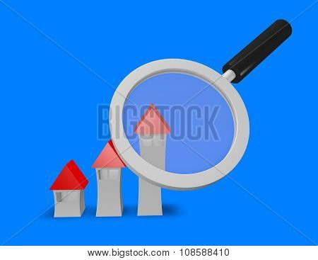 Searching Perfect House Idea With Houses And Magnifying Glass.