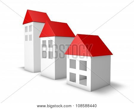 3D Simple Houses With Red Roofs Isolated On White Background.