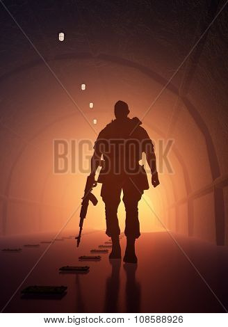 Silhouette of a soldier in the tunnel.