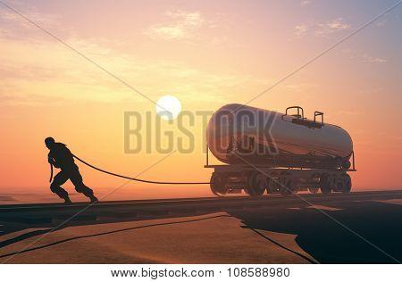 Man pulls a rope rail car.