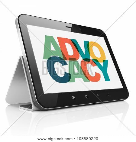 Law concept: Tablet Computer with Advocacy on  display