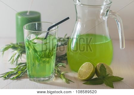 Homemade Lemonade From Lime And Tarragon
