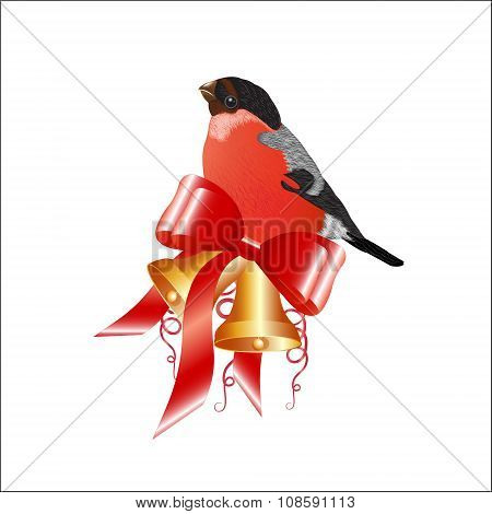 Christmas Decoration, Bullfinch With Hand Bells.
