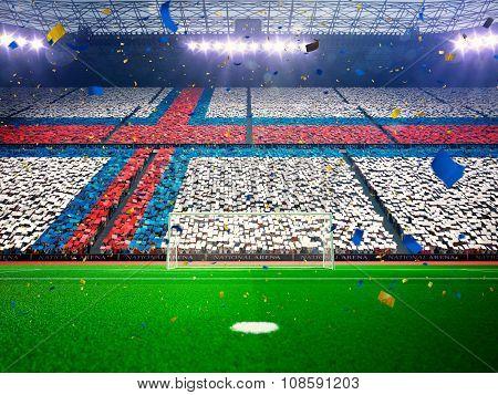 Flag Faroe Islands of fans. Evening stadium arena Blue