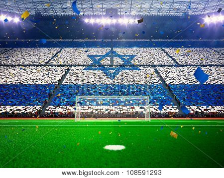 Flag Israel of fans. Evening stadium arena Blue