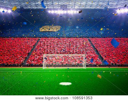 Flag Lihtenshteyn of fans. Evening stadium arena Blue