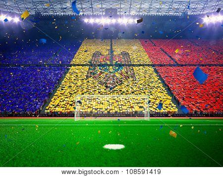 Flag Moldova of fans. Evening stadium arena Blue