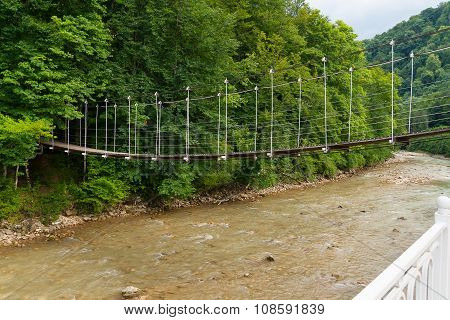 Suspended Footbridge Over The River Kurdzhips