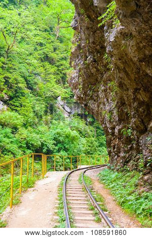 Narrow Gauge Railroad In Guamskoe Gorge