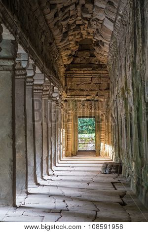 Gallery In Ta Prohm Temple, Part Of The Angkor Wat  Complex