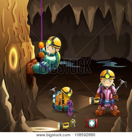 Speleologists in cave 3d background poster