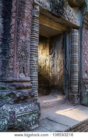 Sun Shines Through The Door Entrance Ta Prohm  Temple