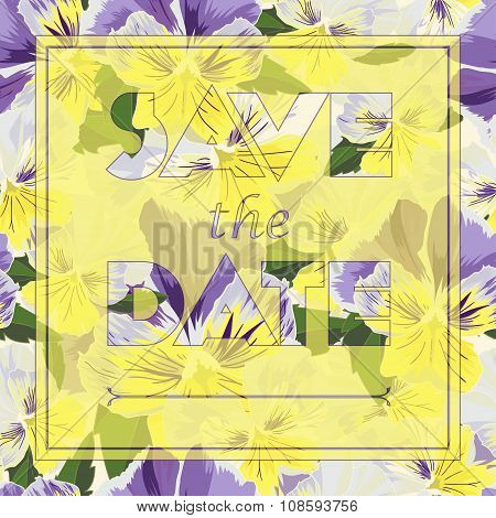 Floral Greeting Card With Text Save The Date In Realistic Hand-drawn Style
