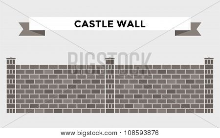 Stone bricks fence isolated on white background