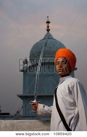 Paonta Sahib Sikh Boy Saffron Turban