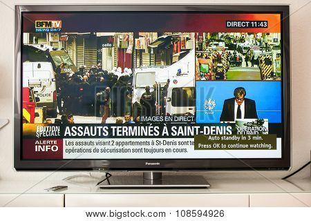 Live Transmission Of Anti-terrorism Operation Saint Denis