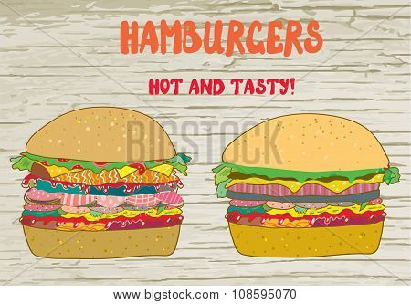 Hamburgers Set - Vector Illustration On The Wood Texture