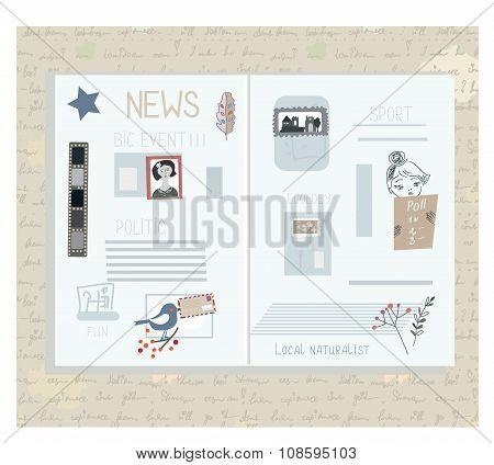 Retro Newspaper Design Elements - Funny  Illlustraion